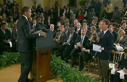 Obama před novináři