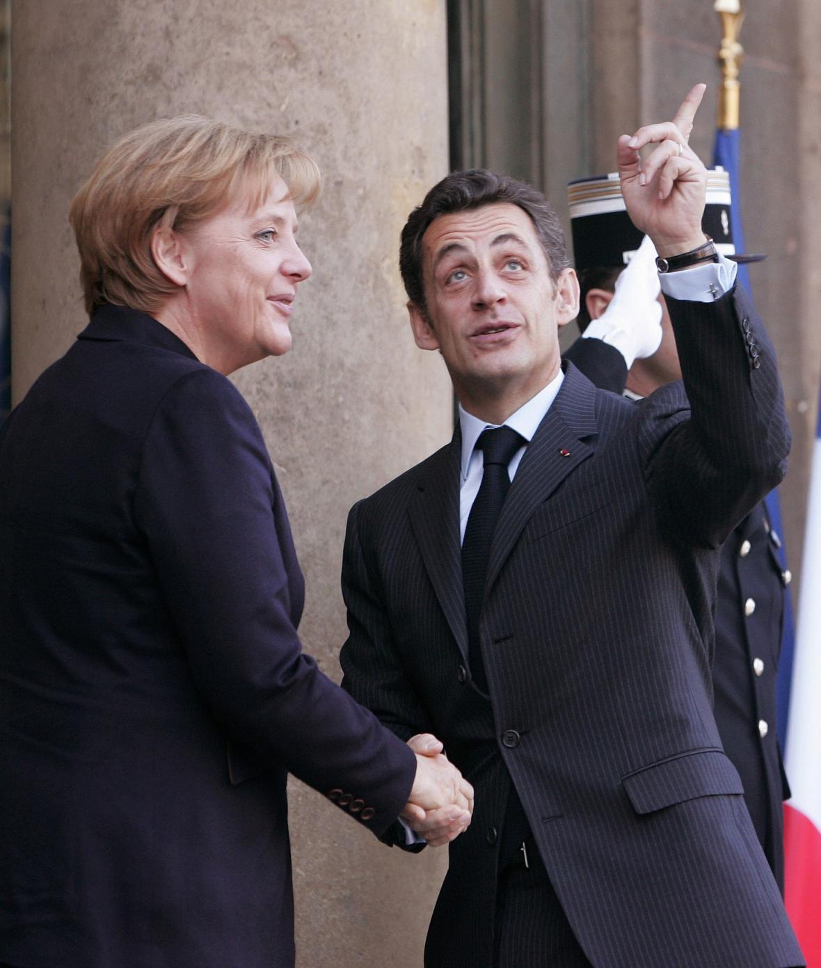 Angela Merkelová na návštěvě u Nicolase Sarkozyho