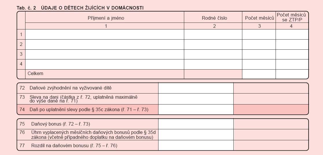 Daňové přiznání - 3. strana