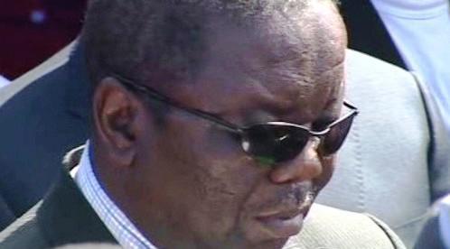 Morgan Tsvangirai na pohřbu své ženy