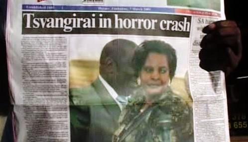 Tisk o havárii Morgana Tsvangiraie