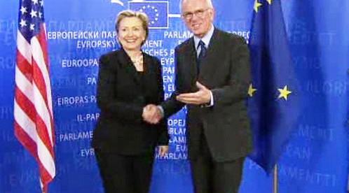 Hillary Clintonová a Hans-Gert Pöttering