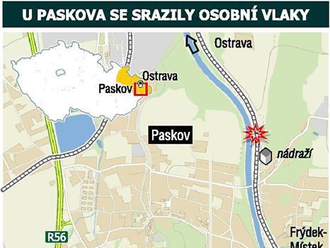 Srážka vlaků na jednokolejce v Paskově