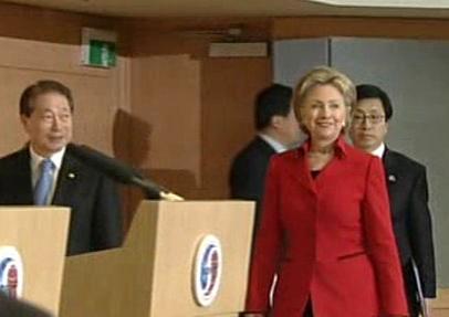 Hillary Clintonová při návštěvě Soulu
