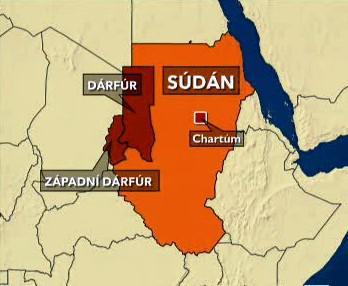 Dárfúr na mapě Súdánu