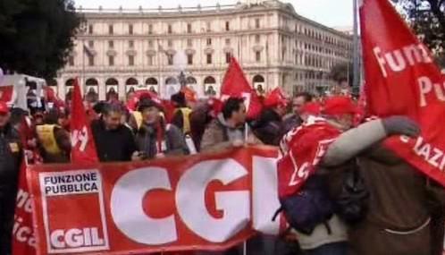 Demonstrace italských odborářů