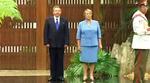 Raúl Castro a Michelle Bacheletová