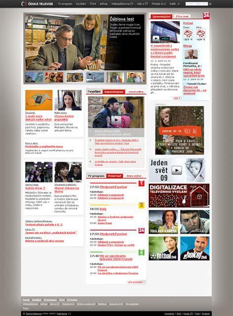 Homepage webu České televize