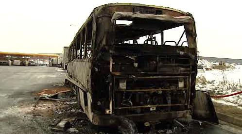Vrak autobusu po požáru