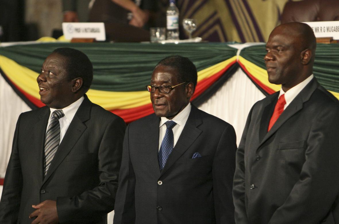 Morgan Tsvangirai, Robert Mugabe a Arthur Matambara
