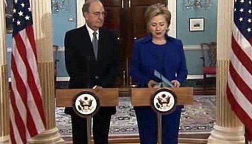 George Mitchell a Hillary Clintonová