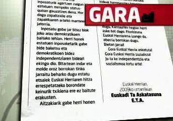 Prohlášení baskické organizace ETA