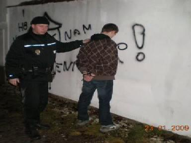 Sprejer zadržený při činu