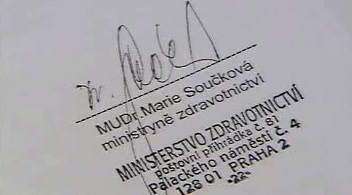 Podpis Marie Součkové