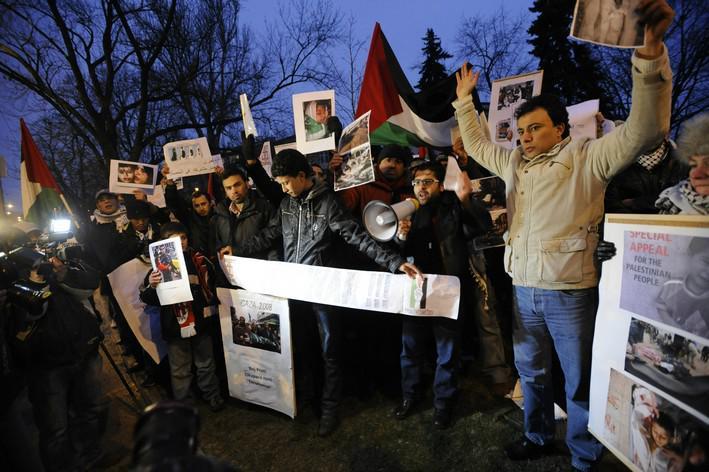 Demonstrace proti izraelským útokům