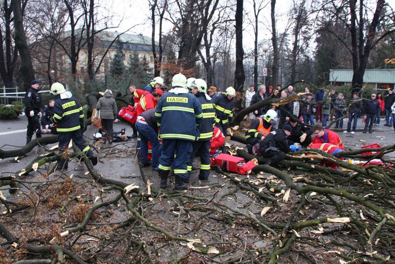 Hasiči a záchranáři na místě neštěstí