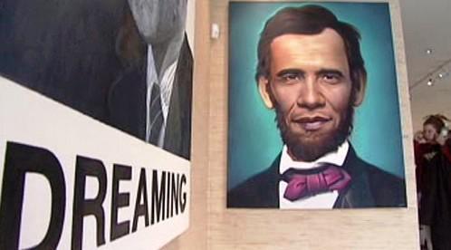 Portét Baracka Obamy s rysy Abrahama Lincolna
