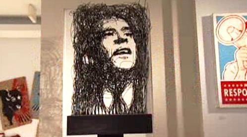 Umělecké ztvárnění Baracka Obamy z drátů