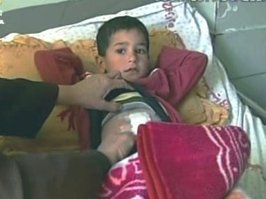 Zraněný chlapec v Gaze