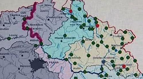 Mapa povodňových čidel