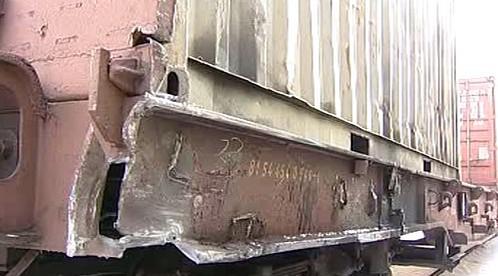 Nákladní vlak po nehodě