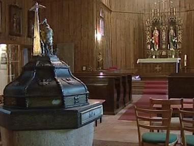Interiér kostelíka v Českém Jiřětíně