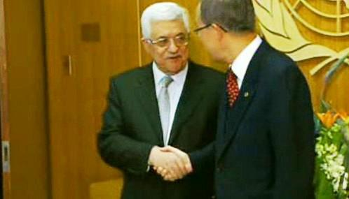 Mahmúd Abbás a Pan Ki-mun