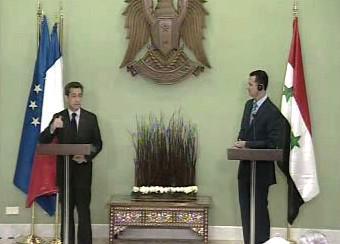 Nicolas Sarkozy a Bašár Asad