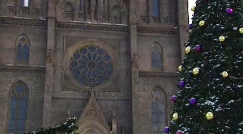 Vánoční strom a kostel