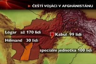 Rozmístění českých vojáků v Afghánistánu