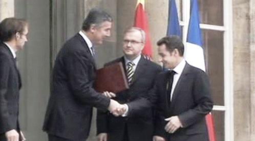 Milo Djukanović a Nicolas Sarkozy