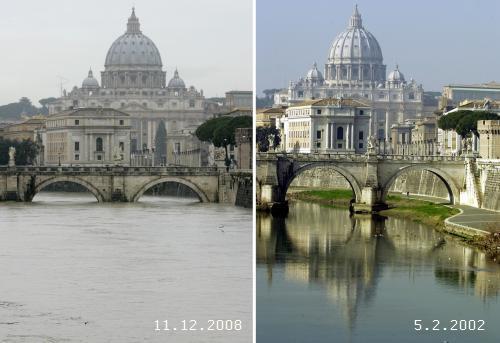 Rozvodněná řeka Tibera ve Vatikáně