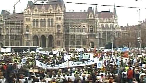 Demonstrace maďarských odborářů