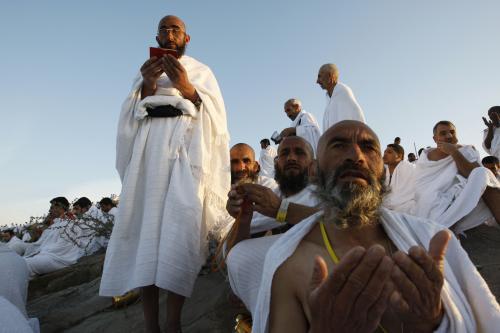 Modlitba poutníků na hoře Arafát