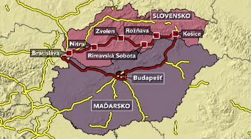 Mapka dálnic na Slovensku a v Maďarsku