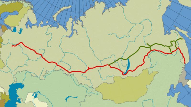 Bajkalsko-Amurská magistrála (zeleně)