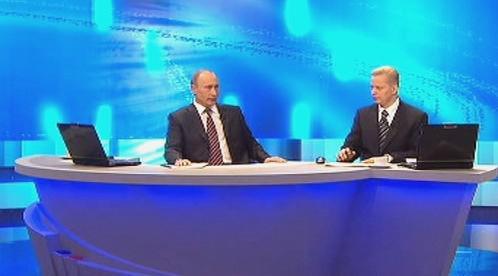 Vladimir Putin v televizním studiu
