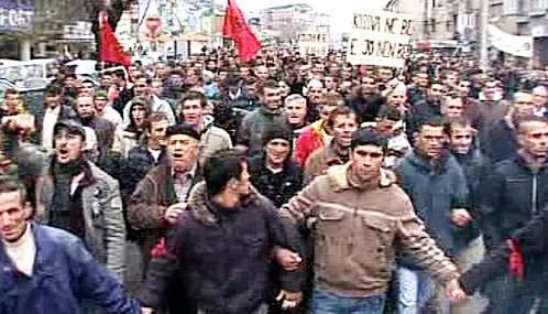 Demonstrace kosovských Albánců