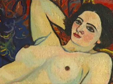 Suzanne Valadonová: Akt na červeném sofa, 1920 (detail)
