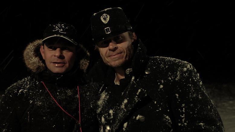 Filip Renč a Karel Roden během natáčení