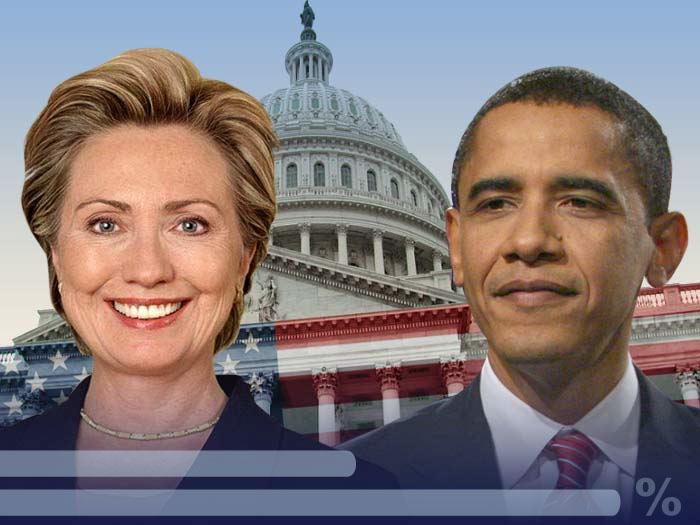 Clintonová a Obama