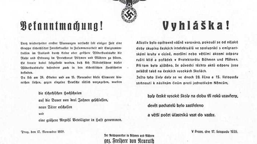 Vyhláška o uzavření vysokých škol v roce 1939