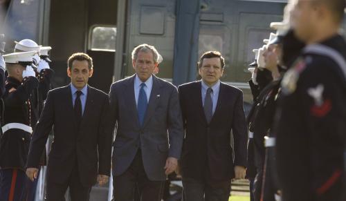 Sarkozy, Bush a Barroso
