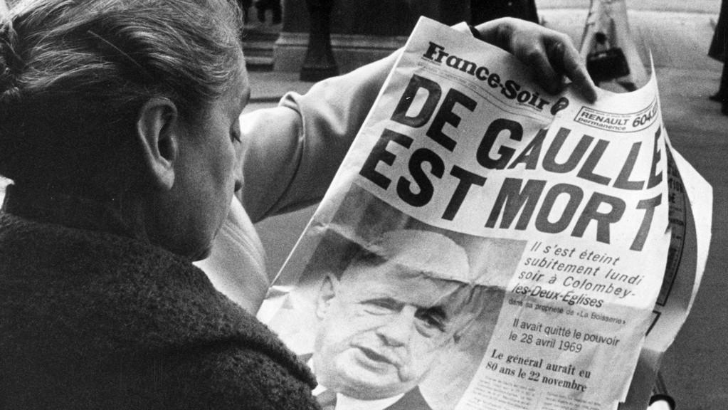 zpráva o smrti Charlese de Gaulla