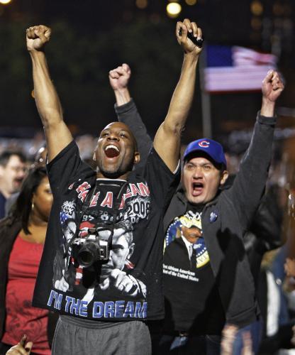 Příznivci Baracka Obamy oslavují výsledky prezidentských voleb