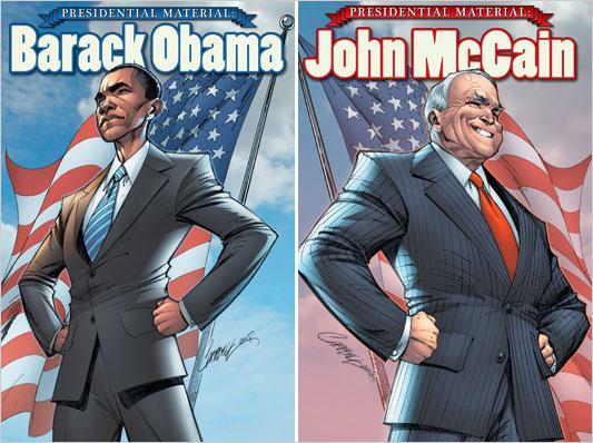 Komiks s Barackem Obamou a Johnem McCainem