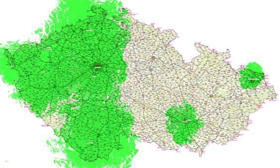 Pokrytí ČR digitálním terestrickým vysíláním ke 31. 10. 2008