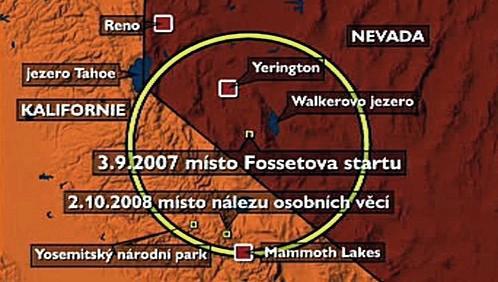 Místo nálezu Fossettova letadla