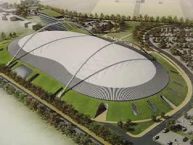 Maketa rychlobruslařského stadionu