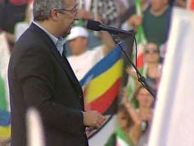 Walter Veltroni protestuji proti Berlusconiho vládě
